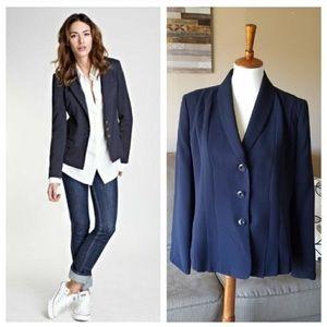 Le Suit Blue Pleated Blazer